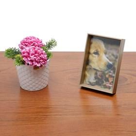 Porta Retrato Lawun em Madeira - Ouro Branco - 10x15cm