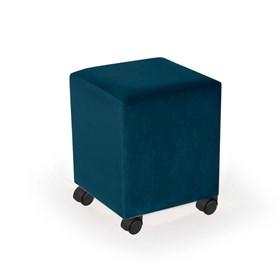 Puff Henrietta em Veludo C/Rodízios Preto - Azul