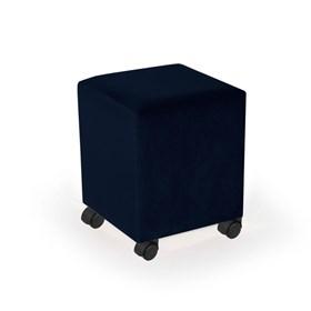 Puff Henrietta em Veludo C/Rodízios Preto - Azul Escuro