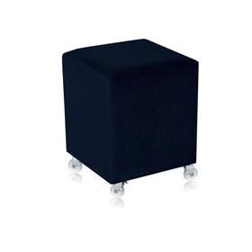 Puff Henrietta em Veludo C/Rodízios Silicone - Azul Escuro