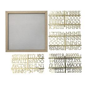 Quadro Zafos de Madeira C/Alfabeto - Branco/Dourado - 30cm