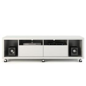"""Rack C/ Rodinhas Horizon Branco 1.8cm Para Tv's Até 60"""""""