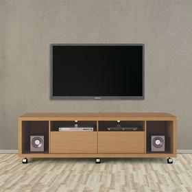"""Rack C/ Rodinhas Horizon Marrom Claro 1.8cm Para Tv's Até 60"""""""