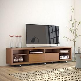 """Rack C/ Rodinhas Horizon Marrom Claro 2.17cm Para Tv's de Até 60"""""""
