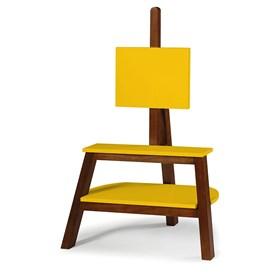 Rack e Painel Alicia em Madeira Maciça - Amarelo