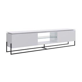 Rack Lavanda C/Estrutura Metálica Preta 180cm - Branco