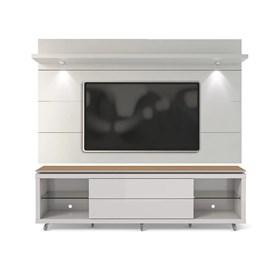 Rack Lincoln e Painel Horizon Branco com Natural 2.20 - Linha Stilo