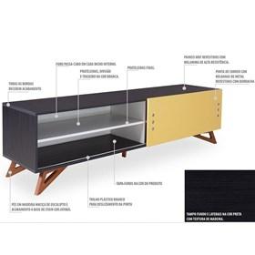 Rack Para TV Kruger 1,8m Black C/Porta de Correr