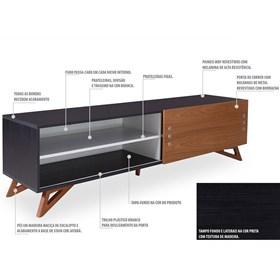 Rack Para TV Kruger 1,8m Black C/Porta de Correr Acabamento em Madeira
