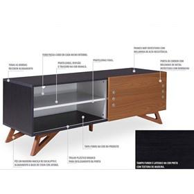 Rack Para TV Kruger Black 1,4m C/Porta de Correr Acabamento em Madeira