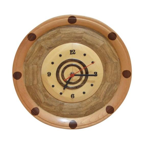 Relógio de Madeira Artesanal Feito em Marchetaria - Birch