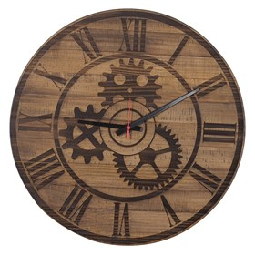 Relógio Engrenagem Romano em Madeira Maciça