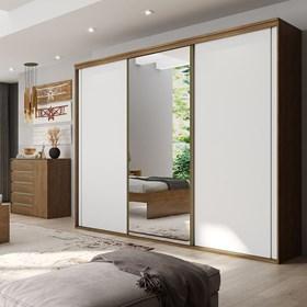 Roupeiro C/Espelho Inteiriço Galileu 227 cm de 3 portas em MDF - Portas Brancas