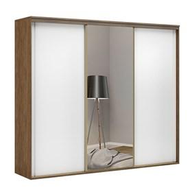 Roupeiro C/Espelho Inteiriço Galileu 267 cm de 3 portas em MDF - Portas Brancas
