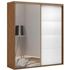 Roupeiro C/Espelho Inteiriço Prometheus 178 cm de 2 Portas em MDF - Portas Brancas