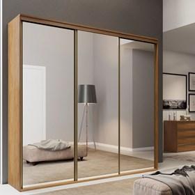 Roupeiro Calisto Álamo de 3 Portas C/Espelho Inteiriço - 227cm