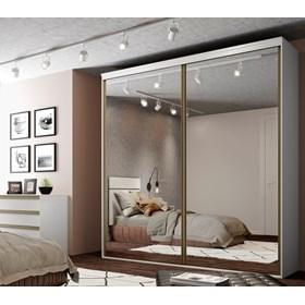 Roupeiro Calisto Branco de 3 Portas C/Espelho Inteiriço - 207cm