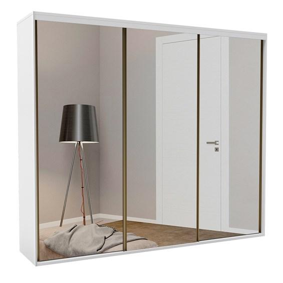 Roupeiro Calisto Branco de 3 Portas C/Espelho Inteiriço - 227cm