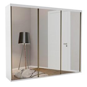 Roupeiro Calisto Branco de 3 Portas C/Espelho Inteiriço - 267cm