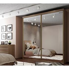 Roupeiro Calisto Ébano de 3 Portas C/Espelho Inteiriço - 207cm