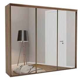 Roupeiro Calisto Ébano de 3 Portas C/Espelho Inteiriço - 267cm