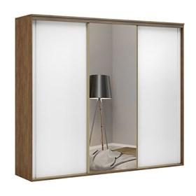 Roupeiro Galileu C/ Espelho e 3 Portas Brancas 227cm - Álamo