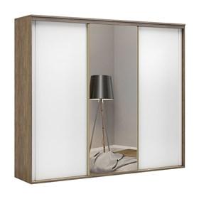 Roupeiro Galileu C/ Espelho e 3 Portas Brancas 267cm - Ébano