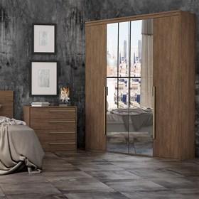 Roupeiro Milano de 4 Portas C/Espelho - Ébano