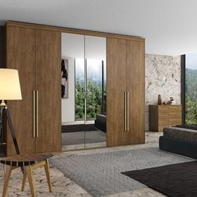 Roupeiro Milano de 6 Portas C/Espelho - Álamo 267cm