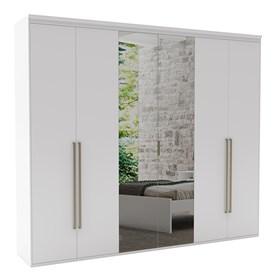 Roupeiro Milano de 6 Portas C/Espelho - Branco 227cm