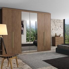 Roupeiro Milano de 6 Portas C/Espelho - Ébano 227cm