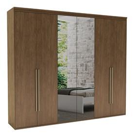 Roupeiro Milano de 6 Portas C/Espelho - Ébano 267cm