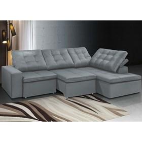Sofá Chaise Retrátil e Reclinável Taurus de 5 Lugares 305cm - Cinza