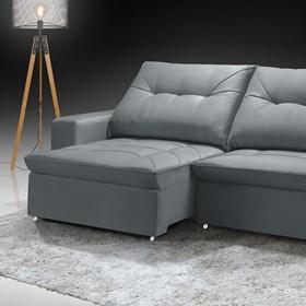 Sofá Retrátil e Reclinável Mônaco 290cm Cinza
