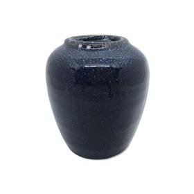 Vaso Kurbeti Alto em Cerâmica 11cm - Azul Escuro