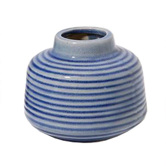 Vaso Kurbeti Baixo em Cerâmica 9cm - Azul Claro