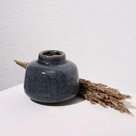 Vaso Kurbeti Baixo em Cerâmica 9cm - Azul Escuro