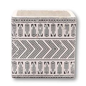 Vaso Mufuor em Cerâmica 11cm - Branco/Preto